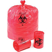Linear Low Density Red Infectious Waste Liners, 1.5 mil, 44 Gallon, 60/Case
