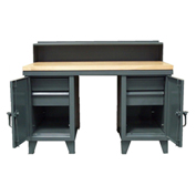 "Desk/Worktable Combo, 60""W x 37""D x 48""H, Gray"