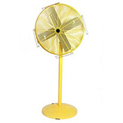 "Airmaster Fan 10551K 30"" Pedestal Yellow Safety Fan - 2 Speed Pull Chain Switch 1/3 HP 6915 CFM"