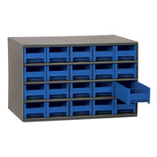 "Steel Small Parts Storage Cabinet, 17""W x 11""D x 11""H w/ 20 Blue Drawers"