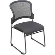 Stacking Chair, Fabric Upholstered Seat, Mesh Back  - Pkg Qty 4