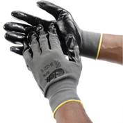 PIP G-Tek® Nitrile Coated Nylon Grip Gloves, Black/Gray, Large, 12 Pairs