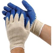 PIP Economy Latex Coated Cotton Gloves, Blue, Large, 12 Pairs