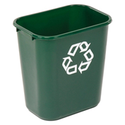 Rubbermaid® Deskside Green Recycling Container, 28-1/8 Qt, Green