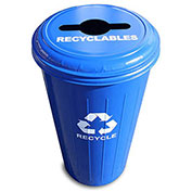 Round Recycling Container With Combo Lid, 20 Gallon Capacity, Steel, Blue