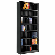 "All Steel Bookcase 36"" W x 12"" D x 84"" H Black 7 Openings"