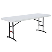 "72"" Adjustable Height Folding Table Almond, 24""H to 36""H"