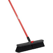 "LIBMAN Push Broom with Resin Block - 18"" - Fine-Duty Bristles - Pkg Qty 4"
