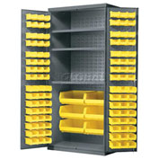 Akro-Mils Steel Cabinet w/3 Shelves & 102 Yellow AkroBins, Assembled