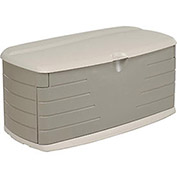 Medium Deck Box With Seat 12 Cubic Feet, Oliver with Sandstone Top and Base