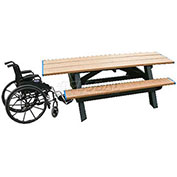 Standard 8' Picnic Table ADA Compliant Both Ends, Cedar Top & Bench/Black Frame