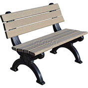 Silhouette 4 Ft. Backed Bench, Brown Bench/Black Frame