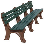 Econo-Mizer 8 Ft. Backed Bench, Green Bench/Brown Frame