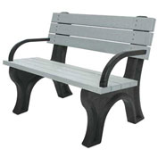 Deluxe 4 Ft. Backed Bench with Arms, Cedar Bench/Black Frame