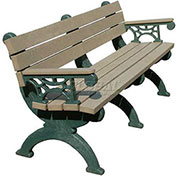 Monarque 6 Ft. Backed Bench with Arms, Cedar Bench/Green Frame