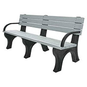 Deluxe 6 Ft. Backed Bench with Arms, Brown Bench/Brown Frame
