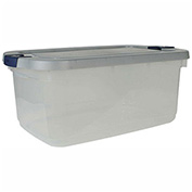 United Solutions RMRC050000 Roughneck Clear Tote 50 Quart Gray Lid Blue Latch - Pkg Qty 5