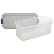United Solutions RMRC095000 Roughneck Clear Tote 95 Quart Gray Lid Blue Latch