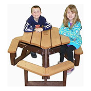 Open Hexagon Youth Table, Brown Top/Brown Frame