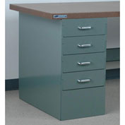 "Stackbin 4 Drawer Pedestal, 15-1/2""W X 30""D X 30-1/4""H, Gray"