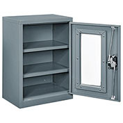 Asembled Clear View Wall Storage Cabinet, 18x12x26, Gray