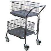 VESTIL Portable Mail Cart, 2 Shelf 200 Lb. Capacity
