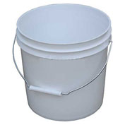 Vestil PAIL-2-PWS, 2 Gallon Open Head Plastic Pail with Steel Handle - White