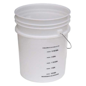 Vestil PAIL-54-PNS-G, 5 Gal Open Head Plastic Pail with Graduations, Steel Handle