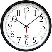 "16.5"" Round SelfSet Wall Clock, Plastic Case, Black"