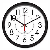 "14.5"" Round Electric Wall Clock, 5' Cord, Plastic Case, Black"