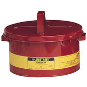 Justrite 10775 Bench Can, 3-Gallon, Red