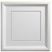 Genesis Designer Icon Coffer PVC Ceiling Tile, Waterproof & Washable, 2'L X 2'W, White