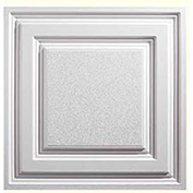 Genesis Designer Icon Relief PVC Ceiling Tile, Waterproof & Washable, 2'L X 2'W, White