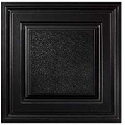 Genesis Designer Icon Relief PVC Ceiling Tile, Waterproof & Washable, 2'L X 2'W, Satin Black
