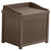 Suncast Resin Wicker Storage Seat Deck Box, 22 Gallon