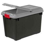 IRIS Tote Truck With Compartment On Lid, 92.5 Qt., Black With Gray Lid