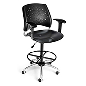 Stars Plastic Swivel Stool with Arms & Drafting Kit, Black