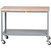 Mobile Buthcer Block Table, Open Base, 48 x 30