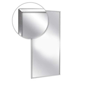 "A&J Washroom Channel Frame Mirror, Tempered Glass Surface, 18""W x 24""H"