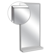 "A&J Washroom Channel Frame Mirror with Mounted Shelf, Tempered Glass Surface, 18""W x 24""H"