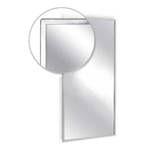 "A&J Washroom Angle Frame Mirror, Tempered Glass Surface, 24""W x 36""H"