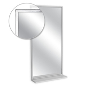 "A&J Washroom Angle Frame Mirror with Mounted Shelf, Tempered Glass Surface, 24""W x 36""H"