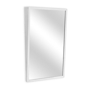 "A&J Washroom Angle Frame Mirror, Fixed Tilt, Tempered Glass Surface, 16""W x 30""H"