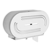 "A&J Washroom Dual Toilet Tissue Dispenser, Surface Mounted, 9"" JRT"