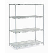 "Stainless Steel Wire Shelving, 48""W x 24""D x 86""H"