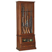 American Furniture Classics Slanted Base Gun Storage Cabinet, 12 Long Guns, Wood