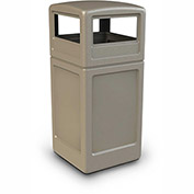 Commercial Zone Square Waste Container with Dome Lid, 42 Gallon, Beige