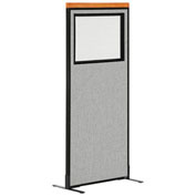 "24-1/4""W x 61-1/2""H Deluxe Freestanding Office Partition Panel with Partial Window, Gray"