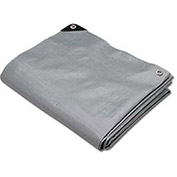 Hygrade Heavy Duty Super Cover Poly Tarp, 10 Mil, Silver/Black, 8'L X 10'W