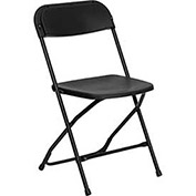 Plastic Folding Chair, 800 lbs. Capacity, Black - Pkg Qty 10